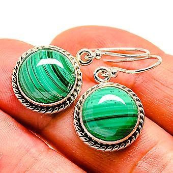 """Malachite Earrings 1 1/4"""" (925 Sterling Silver)  - Handmade Boho Vintage Jewelry EARR408125"""