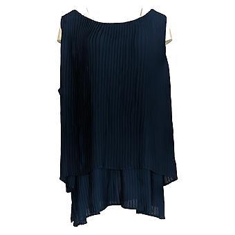 DG2 di Diane Gilman Women's Plus Top Blue Blouse Pleats Sleeveless 722-000