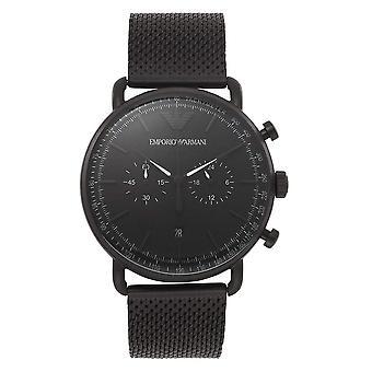 ארמני AR11264 מט שחור רשת פלדת על חלד גברים's שעון
