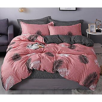 Nordic Leaf Printed Bed & Linen Plaid Duvet Cover Set - Single / Double / Queen