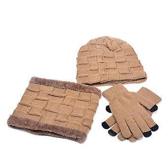 Vinter varm strikket plys hat, tørklæde, handsker Set's