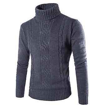 Mand sweater pullover, slank varm solid, høj revers Jacquard, Tøj Herre
