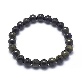 Bracciale stretch obsidiano con perline