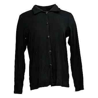 Anybody Women's Top Cozy Knit Collared Rib Button Front Black A367698