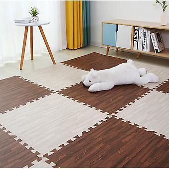 Wooden Puzzle Mat - Foam Soft Floor Interlocking Rug Living Room Gym Crawling