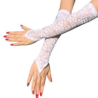 Dress Accessories Black & White Sexy Lace Long Gloves Women's Mittens