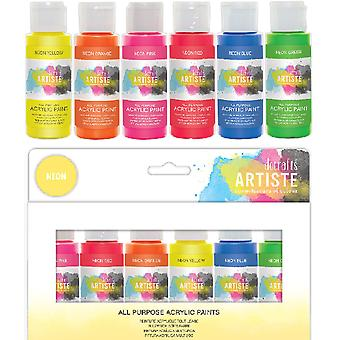 Docrafts Artiste Acrylic Paint Pack 6x59ml Neon