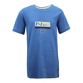 نايكي الرياضية الرياضية قصيرة الأكمام الأولاد تي أعلى الأزرق تي شيرت 422622 431 X9A