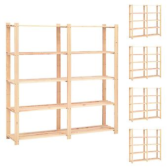 Storage racks 5 floors 5 pcs. 170x38x170cm solid wood pine 500kg