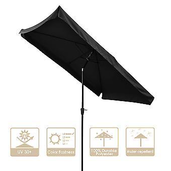 Yescom 10x6.5ft (2x3m) Rectangle Aluminum Outdoor Patio Umbrella w/ Valance Sunshade Crank Tilt Market Garden Black