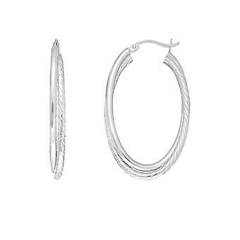 Sterling zilveren Rhodium Plated Twisted buis ovale Hoop Earrings, Diameter 35mm