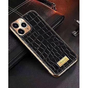 iPhone 12 Shell genuine leather crocodile pattern gold frame high luxury