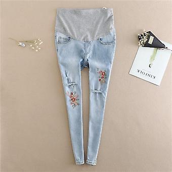 Stickerei Blume Denim Mutterschaft Jeans, Sommer hell blau gerissen Loch Bleistift