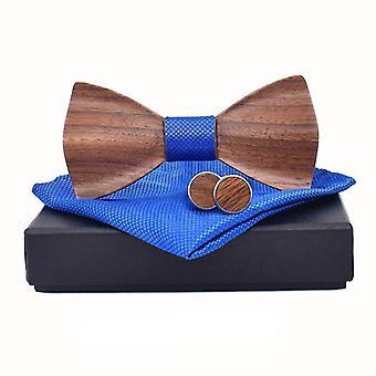 3d Wooden Tie Pocket Square Cufflinks Fashion Wood Bow Tie Wedding Set
