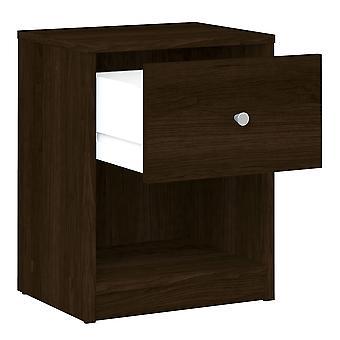 Säng 1 låda i mörk valnöt