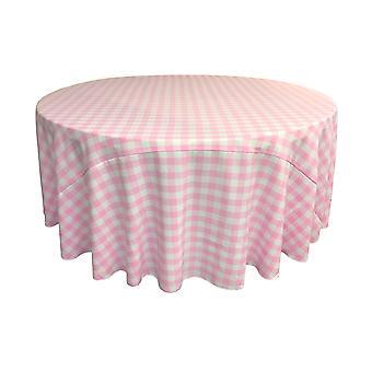 La Leinen Polyester Gingham kariert 120-Zoll runde Tischdecke, weiß und rosa