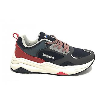 Shoes Blauer Sneaker Running Tok In Ecopelle/ Blue Navy Fabric/ Red Us21bu10