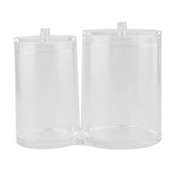 Circular Clear Acrylic Cotton Swab, Balls And Pads Container