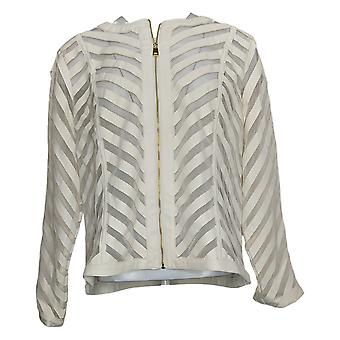 Colleen Lopez Women's Jacket Faux Leather and Mesh White 729612