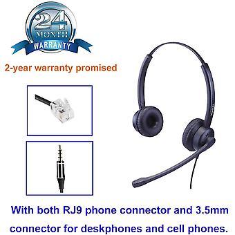 Telefon Headset mit Noise Cancelling Mikrofon Duo bro CallCenter Kopfhrer mit RJ11 und 3.5mm Klinke
