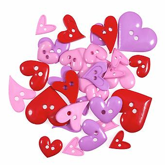 LAST FEW - 20g Novelty Heart Buttons For Sewing and Haberdashery