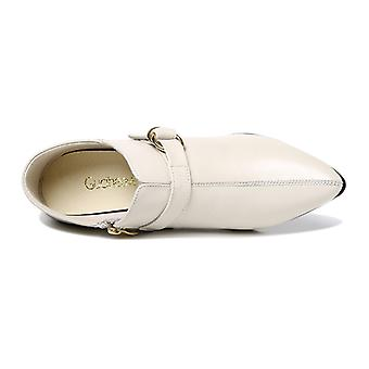 Pointed Thick Heel Single Side Zipper Solid Women's Shoes
