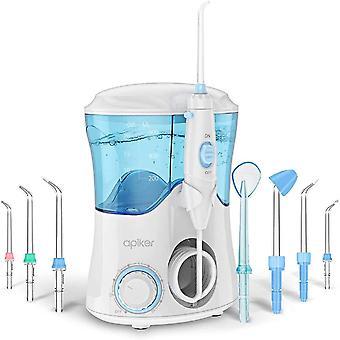 Water Flosser with 8 Multifunctional Tips, apiker Oral Irrigator Dental Water Jet Flosser, 10 Pressure Setting and 600ml Water Tank (White)