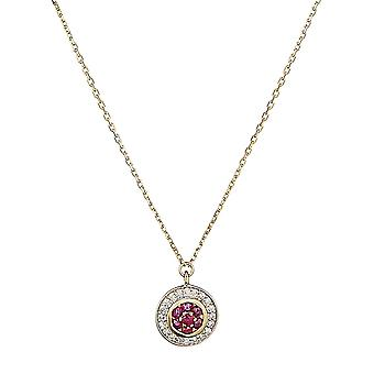 Collar de oro amarillo, diamantes de 0,07 quilates y rubí de 0,14 quilates