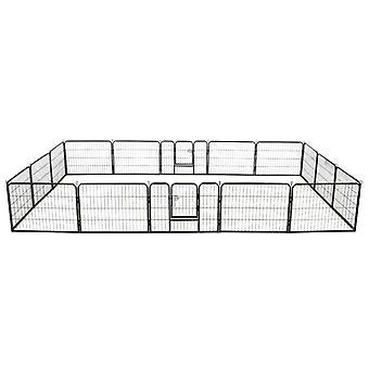 vidaXL Hunde-Laufstall 16 Paneele Stahl 60x80 cm Schwarz