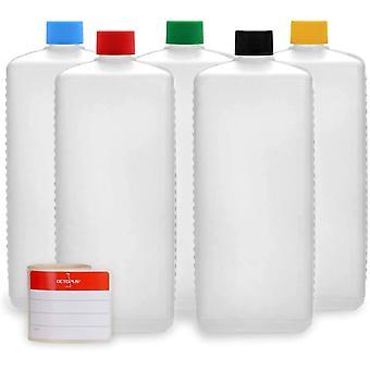 HanFei 5X 1000 ml Kunststoffflaschen, HDPE Plastikflaschen mit bunten Schraubverschlüssen,