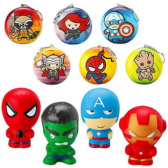 Super-herói Soft Squeeze S squeeze Squishy With Key Chains, Cartoon Slow Rising Stress