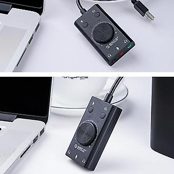 Usb External Sound Card Microphone Earphone 2 In 1with 3 Port Output