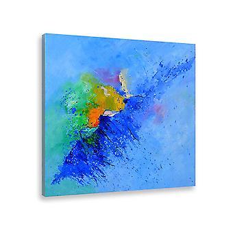 Het schilderen abstracte kunstgolf van blauw