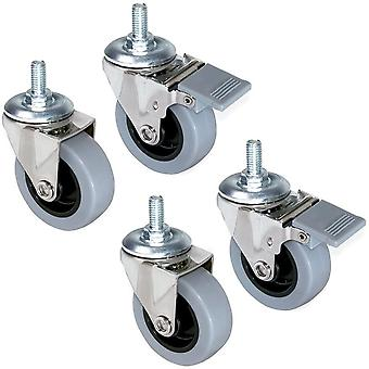 - Set aus 4 Lenkrollen für Möbel Ø50mm mit Gewindestift M8x15 und Kugellager, schwenkrollen gummi