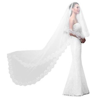 Women Pure White Wedding Veil  Long Embroidered Floral