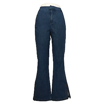 G.I.L.I Women's Jeans Dual Stretch Side Button Flare Blue A350330