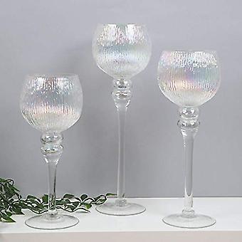 Hestia? Set van 3 gepareliseerde glazen beker stijl kandelaars