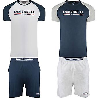 Lambretta Mens 2 Piece Crew Neck T-Shirt Elasticated Shorts Loungewear Set