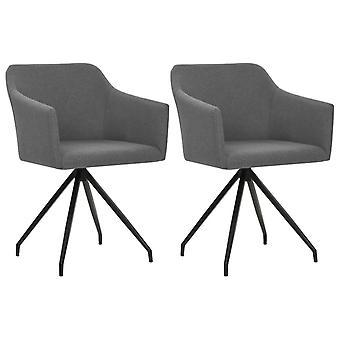 vidaXL Kääntyvä ruokasali tuolit 2 kpl. vaaleanharmaa kangas