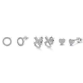 3 paket pave örhängen med Swarovski kristaller - Silver 2 Pack