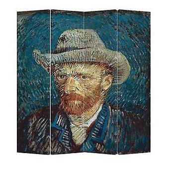Hieno aasialainen olohuone huoneen jakaja yksityisyysnäyttö 4 paneelia W160xH180cm Van Gogh muotokuva