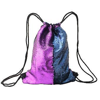 Meerjungfrau Pailletten Kordelzug Taschen Wendebare Pailletten Tanztaschen Gym Rucksäcke für Mädchen Kinder (Matte