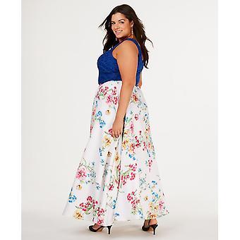 City Studio Womens Juniors Lace Floral Crop Top Dress Blue 14W