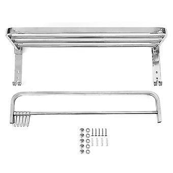 Foldable 304 Stainless Steel Towel Rack Bar Wall Mounted Holder Bathroom Storage Shelf Rack