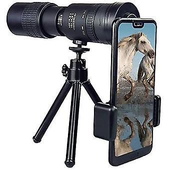 Télescope monoculaire Super Telephoto Zoom 10-300mm avec trépied imperméable anti-brouillard HD pour voyage / camping, (noir)