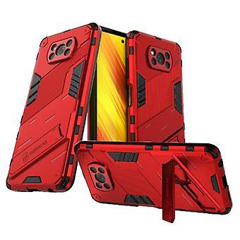 BIBERCAS Xiaomi Mi 10T Case with Kickstand - Shockproof Armor Case Cover TPU Red