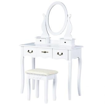Wooden dressing table white - 95 x 40 x 145 cm - with mirror and stool