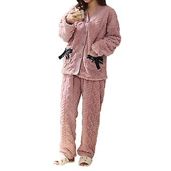 Silktaa Ladies Thick Solid Color Knitted Pajama Suit Top + Pants Two-piece Suit