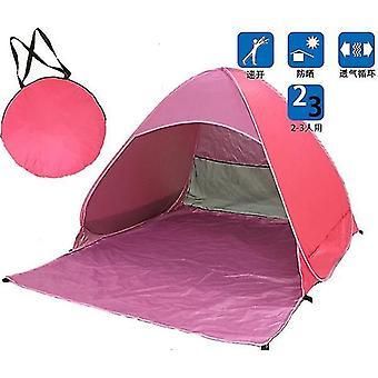Prenosný automatický pop up plážový prístrešok Sun UV Shade Shelter Vonkajší kempingový stan Vonkajší (ružový)