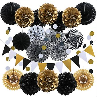 Black And Gold Party Decorations, 20pcs Triangle Flag Banner, Hanging Paper Fans, Tissue Paper Flowers, Garlands Polka Dot String For Birthday Anniver